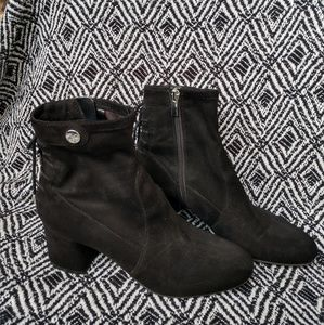 Franco Sarto black stretch fabric ankle boots